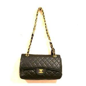 Chanel Shoulder Bag Black Gold Chain